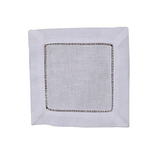 Vipithy 15 piezas Servilletas de cóctel de lino blanco/algodón ribeteadas Posavasos de tela v b n