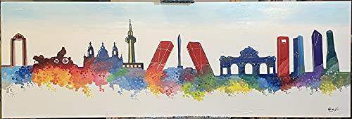 Colorido Cuadro Skyline de Madrid pintado a mano, obra original. 150x50cm