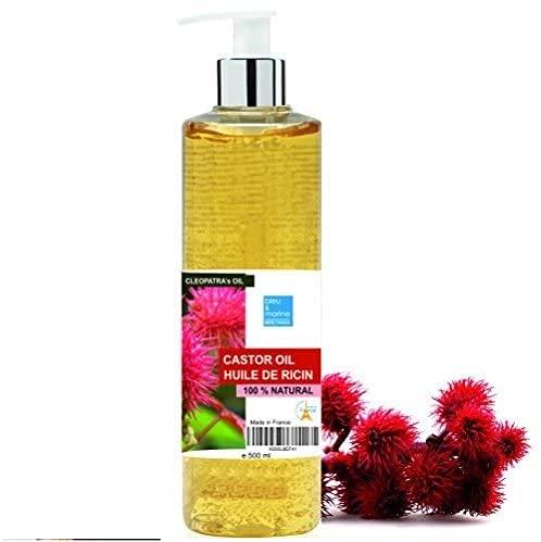 Aceite de Ricino Puro Natural 500 ml - Castor Oil - Aceite de Belleza Anti bolsas, Suavizante Cabello, Hidratante Rostro, Nutritivo Piel y Reparador Uñas - made in France