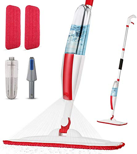 Mops for Floor Cleaning Wet Spray Mop with a Refillable Spray Bottle and 2 Washable Microfiber Pads Home or Commercial Use Dry Wet Flat Mop for Hardwood Laminate Wood Ceramic