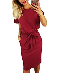 Features: Casual style/Round neckline/ Short sleeve/ Long sleeve/Full length lantern sleeves/Cap sleeve/Two side-seam pockets/Above knee length/ Below knee length/Solid color/Belted Waist/Regular thick/Not see through/Soft and stretchy, can be easily...