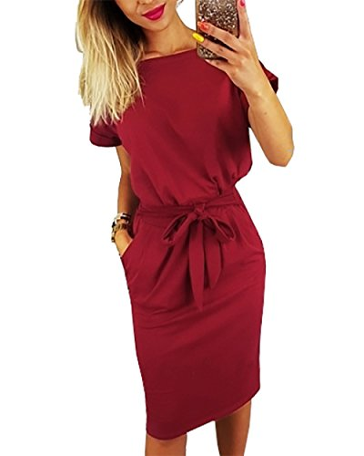 PRETTYGARDEN Ladies Basic Crewneck Belted Office Dress with Pockets Solid Color Sexy Short Sleeve Party Slim Dress Wine Red
