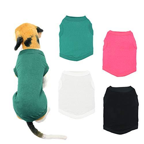 YAODHAOD Camisetas para Perros en Color Liso Ropa, Camisas de Algodón Suaves y Transpirables, Camisas para Perros Ropa Apta para Pequeños Extra Pequeños Medianos(4pcs,S)
