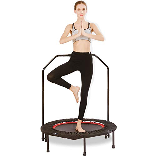 40' Trampoline,Foldable Fitness Trampoline,Mini Trampoline with Adjustable Foam Handle for Kids Adults Indoor/Outdoor Fitness Body Exercise Max Load 330 Lbs