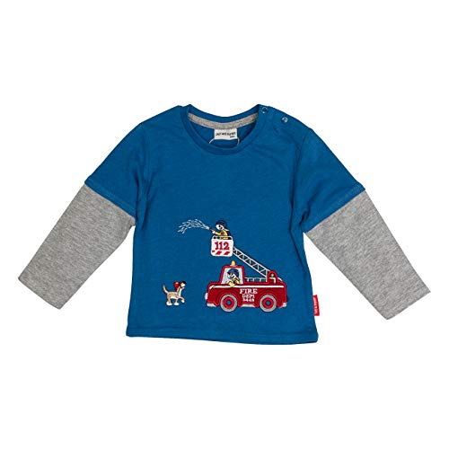 Salt & Pepper Baby-Jungen Ready for Action Fire 2in1 Langarmshirt, Blau (Blue Melange 454), (Herstellergröße: 74)