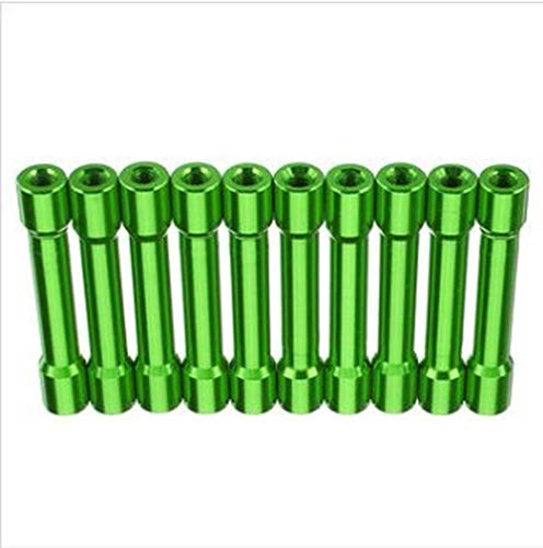 M3AS13 Lot de 10 entretoises rondes en alliage d'aluminium M3 35 mm Multicolore Surface lisse 35 mm Vert