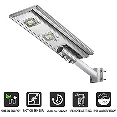 Commercial Solar Street Light, 20000LM Solar Area Light 6000K Dusk to Dawn with Motion Sensor and Remote Control, ST200-033