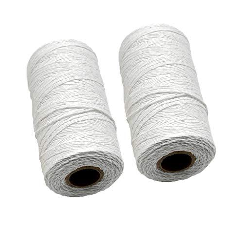 Fugift 2 rollos de hilo de algodón puro blanco de 1 mm...