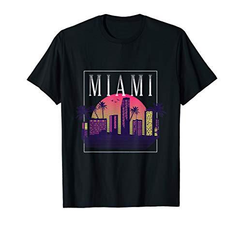Vintage Miami Florida Cityscape Retro Graphic Tee Gift