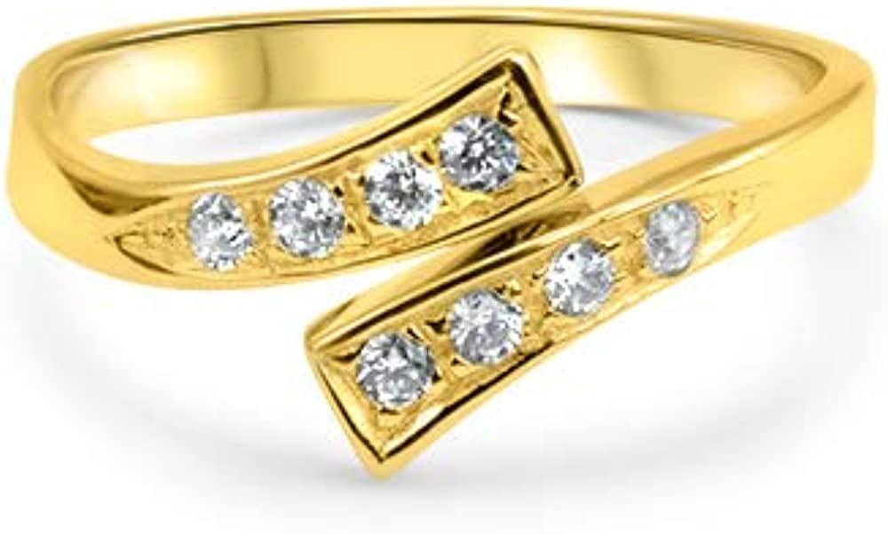 14k Yellow Gold Toe Ring CZ. Size Adjustable