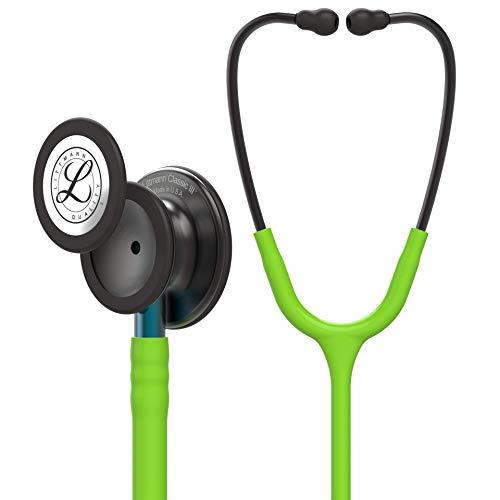 3M Littmann Stetoscopio per il Monitoraggio Classic III, Testina Nerofumo, Tubo Auricolare Verde Lime, Connettore Blu e Archetto Nerofumo, 69 cm, 5875