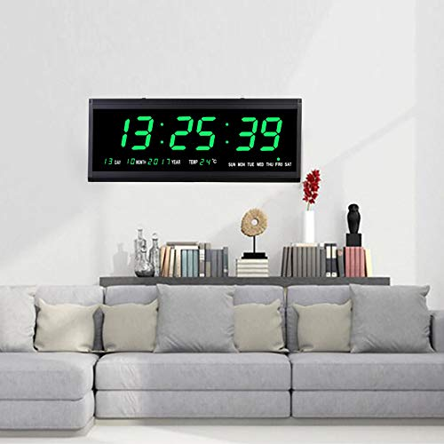 Led Digitale Wanduhr 48cm Kalenderuhr Temperatur Wanduhren Digitaluhr Ziffer Display Tischuhr für Zimmer Küche Büro, EU Stecker (Grün)