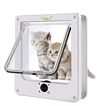 Ycozy 2nd Cat Doors with 4-Way Rotary Lock Cat Flap Indoor | Pet Door for Medium & Large Cats/Small Dogs | Easy Install on Doors Windows Cupboard & Walls | White L