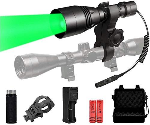 Windfire Kit de linterna de caza profesional 1500 lúmenes, linterna LED de caza con luz verde, 350 yards, luz roja, 5 modos, presostato, montaje