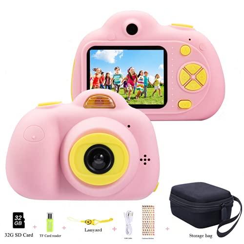YunLone Macchina Fotografica Bambini 18MP Selfie Fotocamera Digitale 1080P HD Digitale Videocamera Bambini con Scheda SD 32GB Regali per Ragazze Ragazzi - Rosa