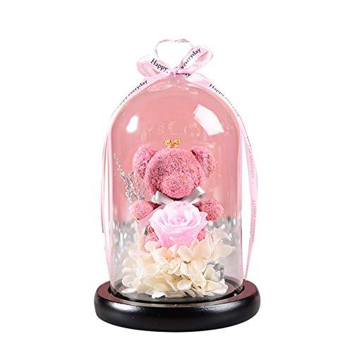 Copertura in vetro con motivo a forma di orsetto e rose, con luce LED