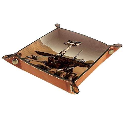 ATOMO Plateau de rangement en cuir avec détecteur de Mars, clés, bijoux, articles divers, table de chevet, petit plateau de rangement pour clés, téléphone, bijoux