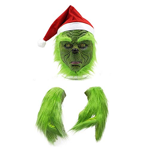 mimisasa Scary Maske Handschuhe Weihnachts Hut Kostüm Maske Halloween Grusel Maske für Erwachsene Kinder (Maske und Handschuhe)