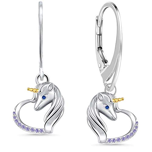Orecchini a monachella in argento 925 con zirconi a forma di cuore, per donne e ragazze e Argento, colore: Lilla, cod. EH-E-985