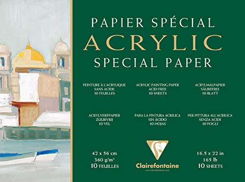 Clairefontaine 96497C Acrylique Acrylpapier Block (4-seitig verleimt, 10 Blätter, 360 g, speziell für Acrylfarben und Gouache geeignet, 30 x 40 cm) weiß