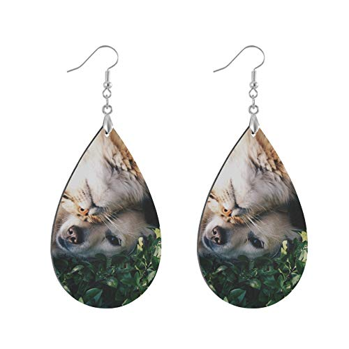 Cat And Dog Friends Wooden Earrings Leaf Eardrops Pendant Earrings, Lightweight Teardrop Danglers, Ear Studs Ethnic Style for Girls