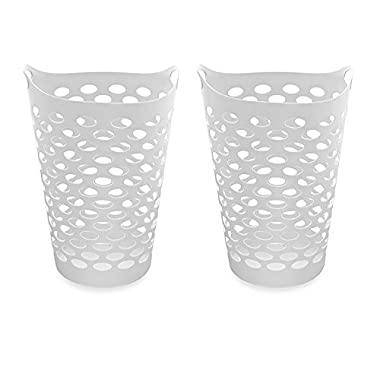 Starplast Tall Flex Laundry Basket in White Set of 2