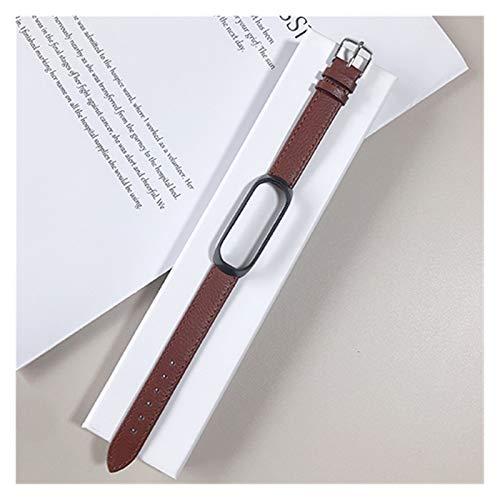 Home CNLXDSB Pulsera de Cuero for Xiaomi MI Band 3/4/5 Elegante Correa Reloj muñeca Correa for Xiaomi MI Banda 3 4 Pulsera MIBAND 5 4 3 Strap (Color : Dark Brown Black, Size : For mi3mi4)
