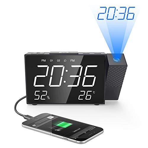 AVANI EXCHANGE Sveglia per proiezione Radio FM Digitale Doppio Allarme Volume Snooze Tempo umidità Display Temperatura