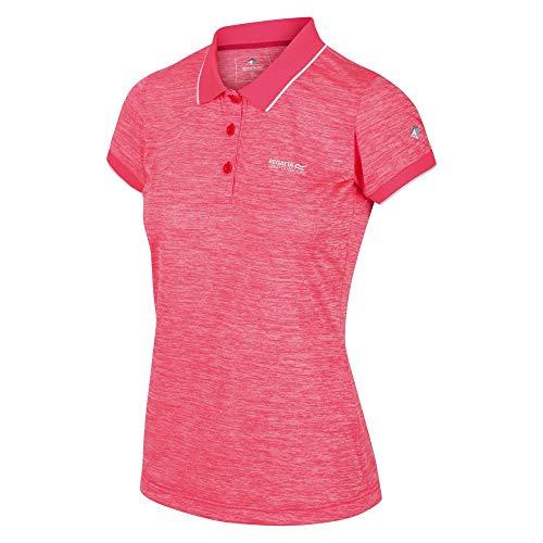 Regatta RWT178 Remex II Damen Poloshirt atmungsaktiv mit Rippstrickkragen Uni, Groesse 42, neonpink