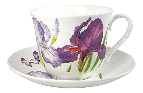 Roy Kirkham Iris Flower Breakfast Teacup and Saucer Set Fine Bone China England