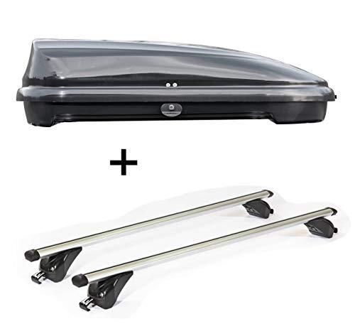 VDP Dachbox VDPFL320 320Ltr schwarz glänzend + Dachträger/Relingträger KING1 kompatibel mit BMW X1 (F48) (5 Türer) ab 15