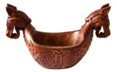 Cuenco (Madera Barco Vikingo con nodos patrón schnitzwerk LARP Medieval Vikingo Thor