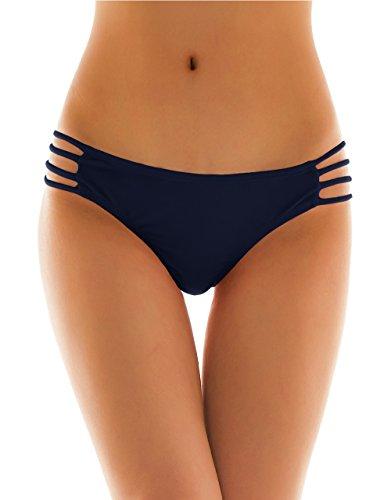 SHEKINI Damen Tanga Bikinihose String Rüschen Sexy Brazilian Bikini Slip Schnüren Höschen (Medium, Dunkelblau)