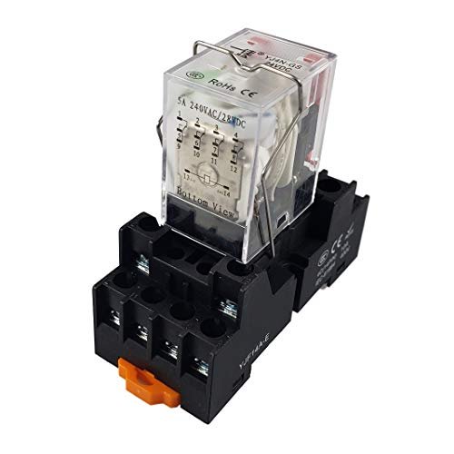 APIELE 110V AC 14 Pins 5A Coil Electromagnetic Power Relay Coil 4PDT 4NO+4NC MY4NJ HH53P with Indicator Light With Base (110V AC)