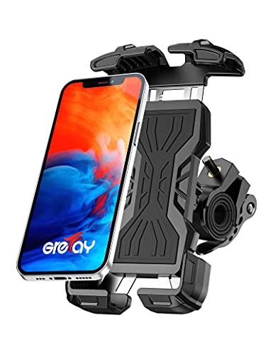 Grefay Handyhalterung Fahrrad Edelstahl Handyhalterung Motorrad Lenkeranschlüsse in Zwei Größen 360-Grad-Drehbarer Universeller Handy Halterung Fahrradlenker Geeignet für 4,7-6,8 Zoll Smartphones
