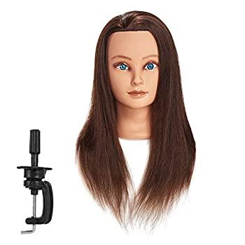 Traininghead 20-22  100% Human hair Mannequin head Training Head Cosmetology Manikin Head Doll Head with free Clamp