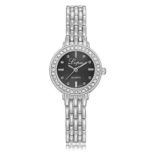 Relojes de Pulsera para niñas Mujeres Serie de señoras Reloj de Pulsera para Mujer Reloj de aleación de epoxi con Tachuelas de Diamantes en Esfera Negra Plateada (Reloj)