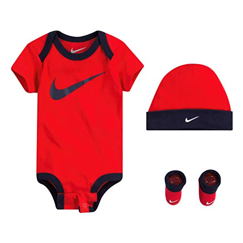 Nike Baby Hat, Bodysuit and Booties 3-Piece Gift Box Set, Red Swoosh, 0/6M