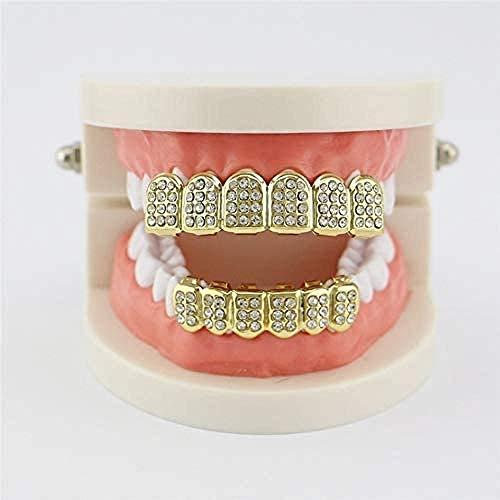 Zahnprothesenzahn Abnehmbare Gefälschte Zähne Glänzende Perlen Eingelegte Obere Untere Prothese Für Halloween-Party Für Männer Und Frauen Golden1Pcs
