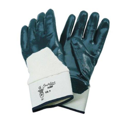Safeline Promat Handschuhe Nitril Gr.9 blau teilbesch. SAFELINE PROMAT m.Stulpe
