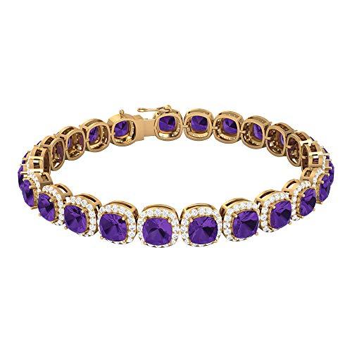 Rosec Jewels 14 quilates oro amarillo cojín Round Brilliant Purple Creado en laboratorio de lavanda Moissanite