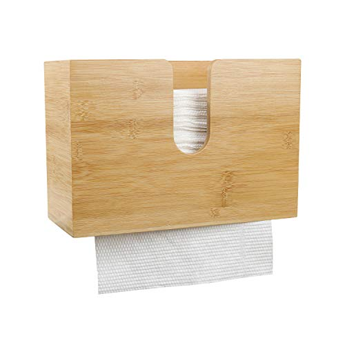 PENGKE Bamboo Paper Towel Dispenser,Wall Mount and Countertop Multifold Paper Towel Holder,C-Fold, Zfold,Tri fold Hand Towel Holder for Bathroom and Kitchen