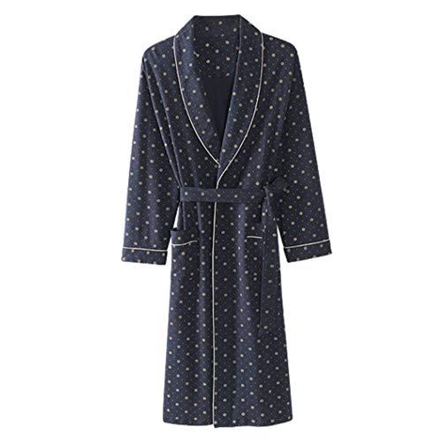 Otoño Albornoces para Hombre Albornoz De Algodón Manga Larga Simple Kimono Abrigo De Albornoz Masculino Cálido
