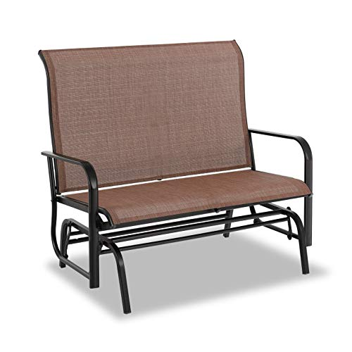PHI VILLA Patio Swing Glider Bench for 2 Persons Rocking Chair, Garden Loveseat Outdoor Furniture, Brown