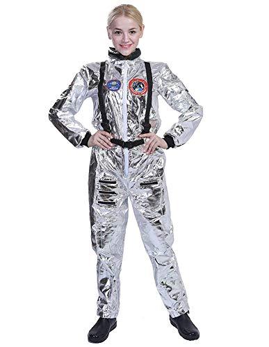 W&TT Disfraz de Astronauta para Hombre y Mujer Explorador Espacial Mono Plateado Traje de Vuelo Adultos Niños Astronauta Juego de Roles Disfraces de Cosplay,Women,S
