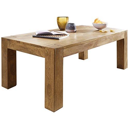 Wohnling Couchtisch Massiv-Holz Akazie 110 cm breit Wohnzimmer-Tisch Design Landhaus-Stil Beistelltisch Natur-Produkt Wohnzimmermöbel Unikat modern Massivholzmöbel Echtholz rechteckig braun