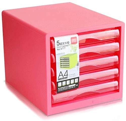 Organizador para el Escritorio Cinco Capas de Archivos de Escritorio A4 Gabinete de plástico del gabinete del cajón Archivo clasificado Gabinete de Almacenamiento (Color : Powder)