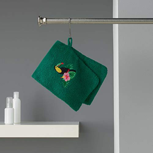 douceur d'intérieur 2 gants de toilette 16x21 cm eponge brodee toucalaos vert