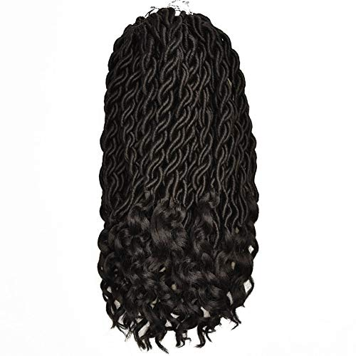 FQNing 18inch 8packs Faux Locs Crochet Hair Light Weight Soft Wavy Curly Goddess Locs Synthetic Brading hair extensions Natural Black #1B