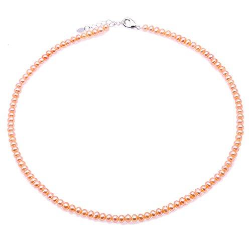 JYX perlenkette rosa halskette rosa Perlenkette Set 4-5mm Rosa Süsswasser Perlenkette 18